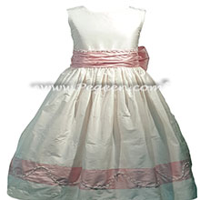 Petal Pink and White Flower Girl Dresses with Custom Trim