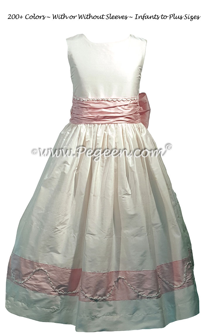 Flower Girl Dress with Petal Pink Custom Trim