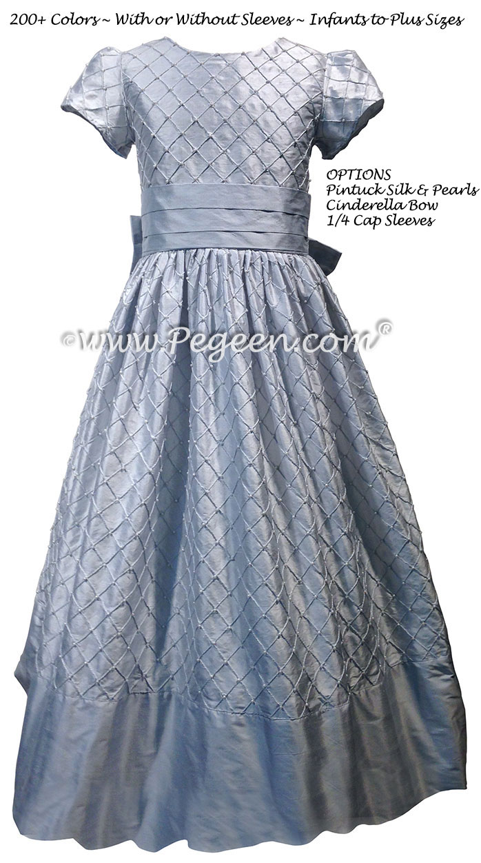 Pintuck and Pearls Custom Silk flower girl dress in steele blue