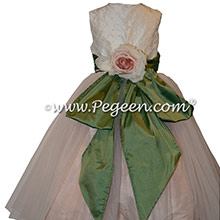 Pale pink and green silk flower girl dress with silk flower