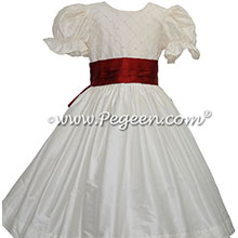 Nutcracker Costume with Pearl Detail Bodice in ivory and claret red
