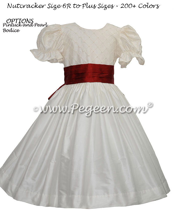 Flower Girl Dress in New Ivory and Navy pin tuck silk bodice - Style 701 | Pegeen
