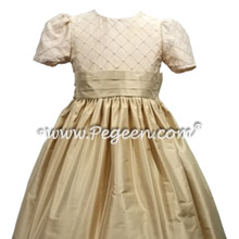 Gold Pin Tuck and Pearls Flower Girl Dress