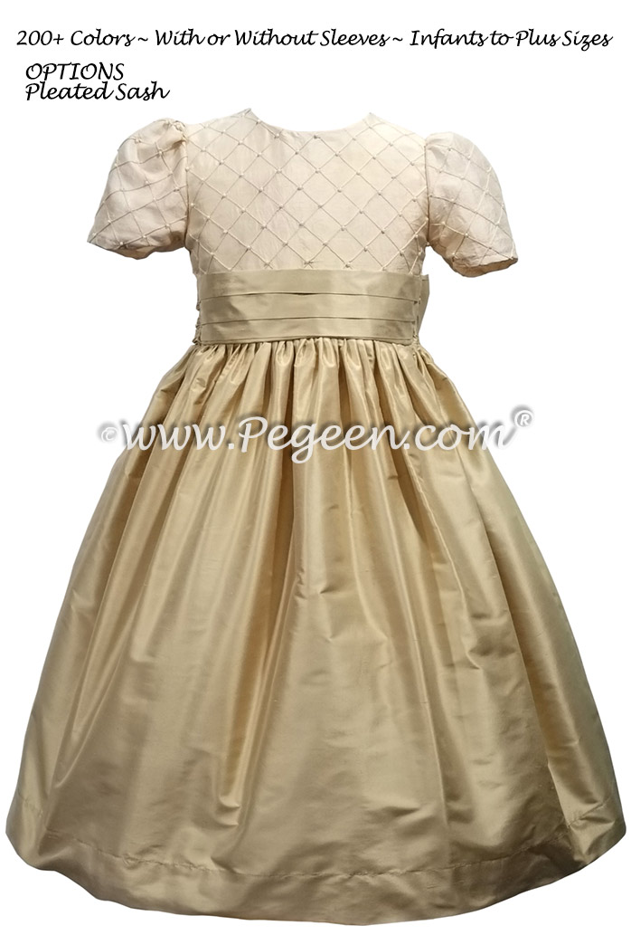 Gold Pin Tuck and Pearls Flower Girl Dress Style 409