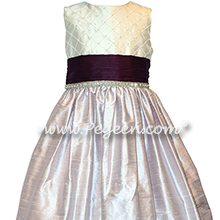 Light Orchid, Plum and Antique White pin tuck silk bodice - Style 409