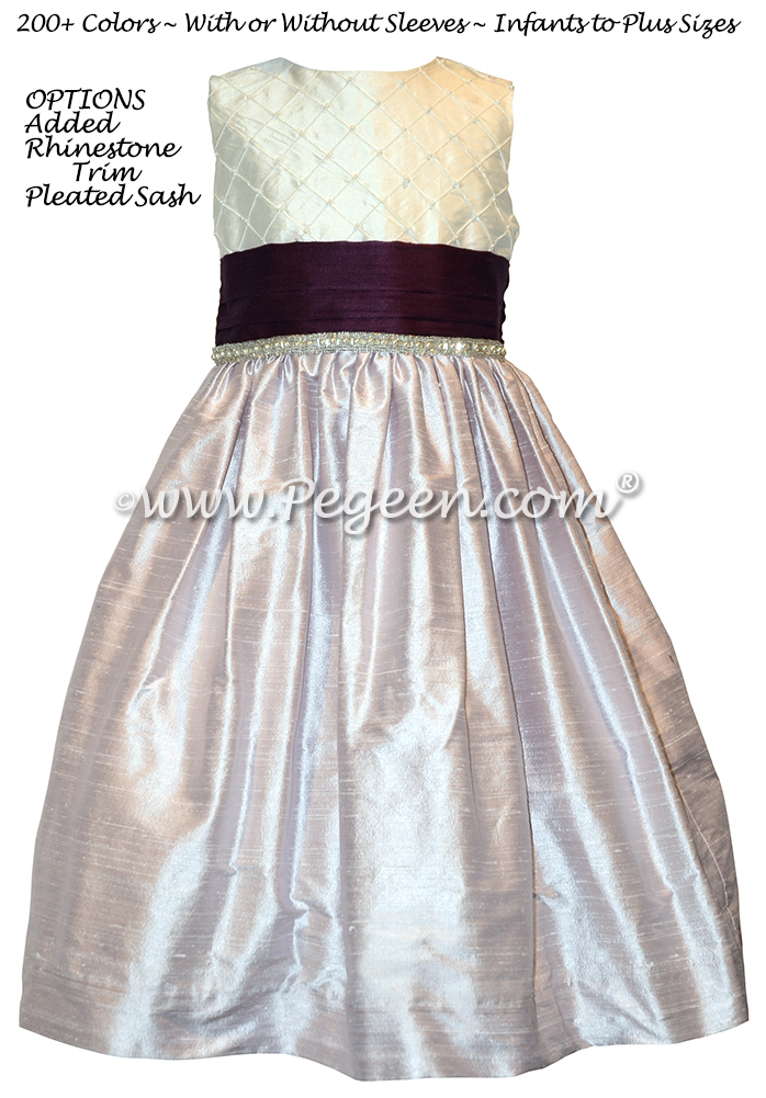 Light Orchid, Plum and Antique White pin tuck silk bodice flower girl dress