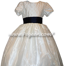 Flower Girl Dress in New Ivory and Navy pin tuck silk bodice - Style 409