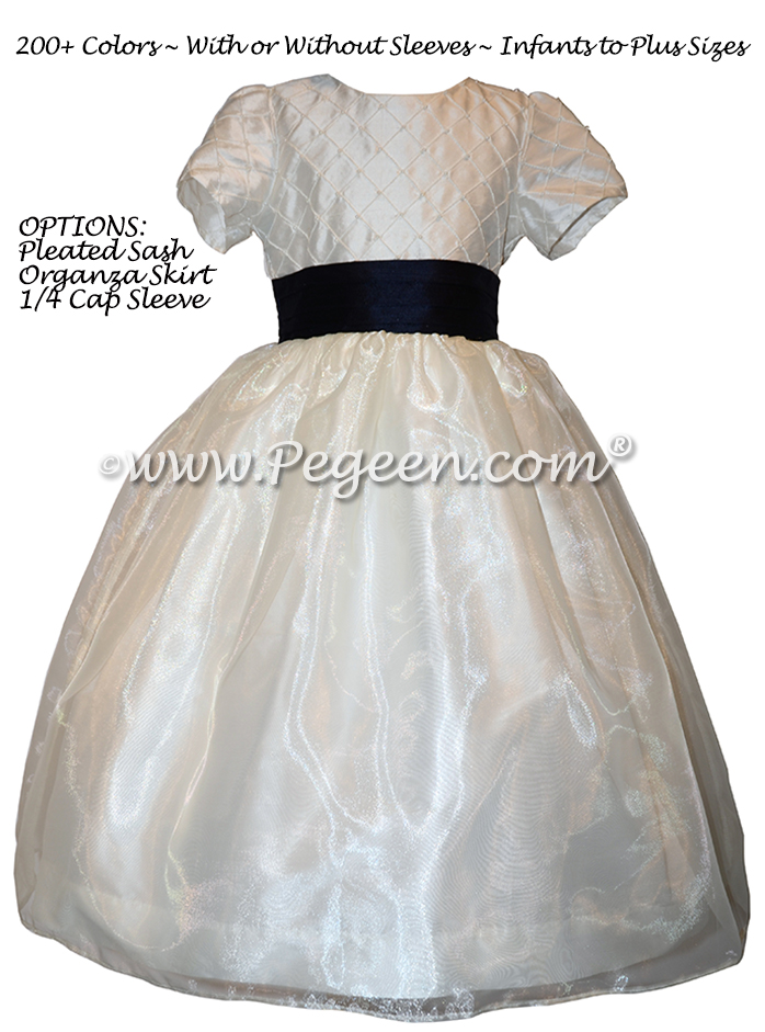 Flower Girl Dress in New Ivory and Navy pin tuck silk bodice - Style 409 | Pegeen