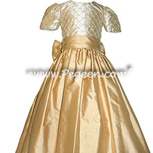Gold Pearled Custom Silk flower girl dresses