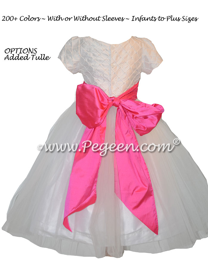 Hot Pink Silk and White Trellis Bodice Flower Girl Dress