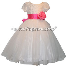 Hot Pink Silk and White Trellis Bodice Flower Girl Dress