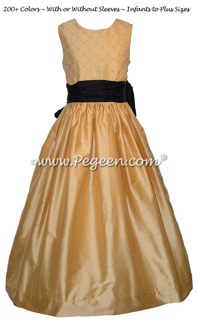 Pure Gold and Black silk Flower Girl Dress Style 409