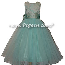 Aqua and White Aloncon Lace Silk Flower Girl Dresses