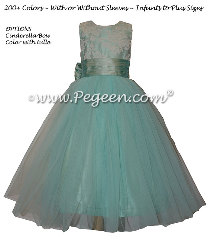Aqua and White Aloncon Lace Silk Flower Girl Dresses Syle 413