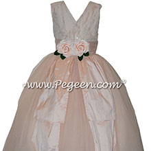Custom Ivory and Aloncon Lace and Pink Tulle Flower Girl Dresses   Pegeen