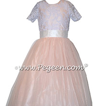 Ballet Pink and White Aloncon Lace Silk and Tuille Flower Girl Dress Style 413