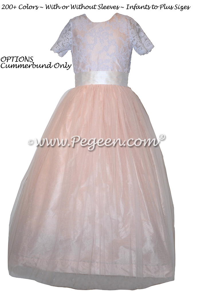 Ballet Pink and Antique White Tulle Flower Girl Dresses with Aloncon Lace