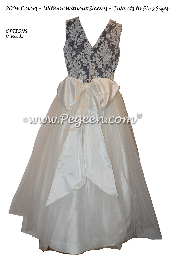 Black and New Ivory Flower Girl Dresses with Tulle and Aloncon Lace