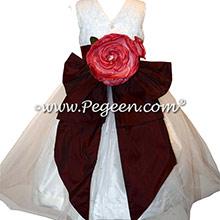 Burgundy Silk flower girl dresses