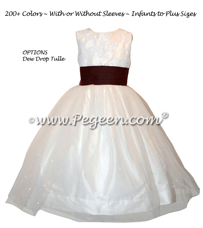Burgundy Silk flower girl dresses - Style 413