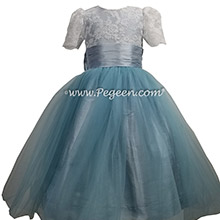 Caribbean Blue silk and tulle flower girl dress with Aloncon Lace