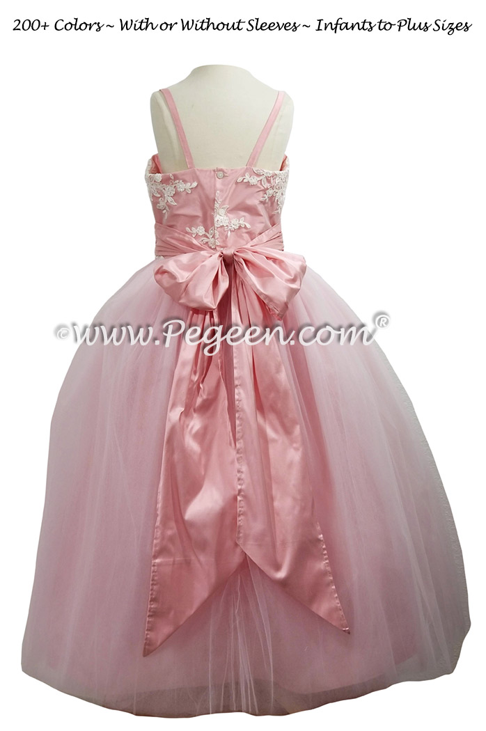 Pink and Aloncon Lace Silk Tulle Flower Girl Dress