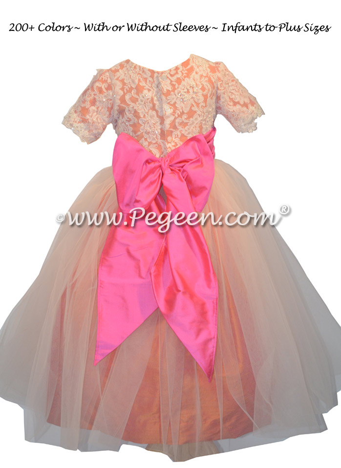 Coral Rose and Shock Pink Lace and Tulle Flower Girl Dress