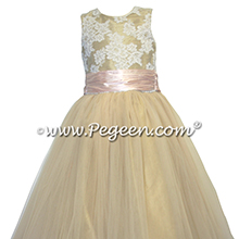 Gold Tulle and Silk flower girl dresses
