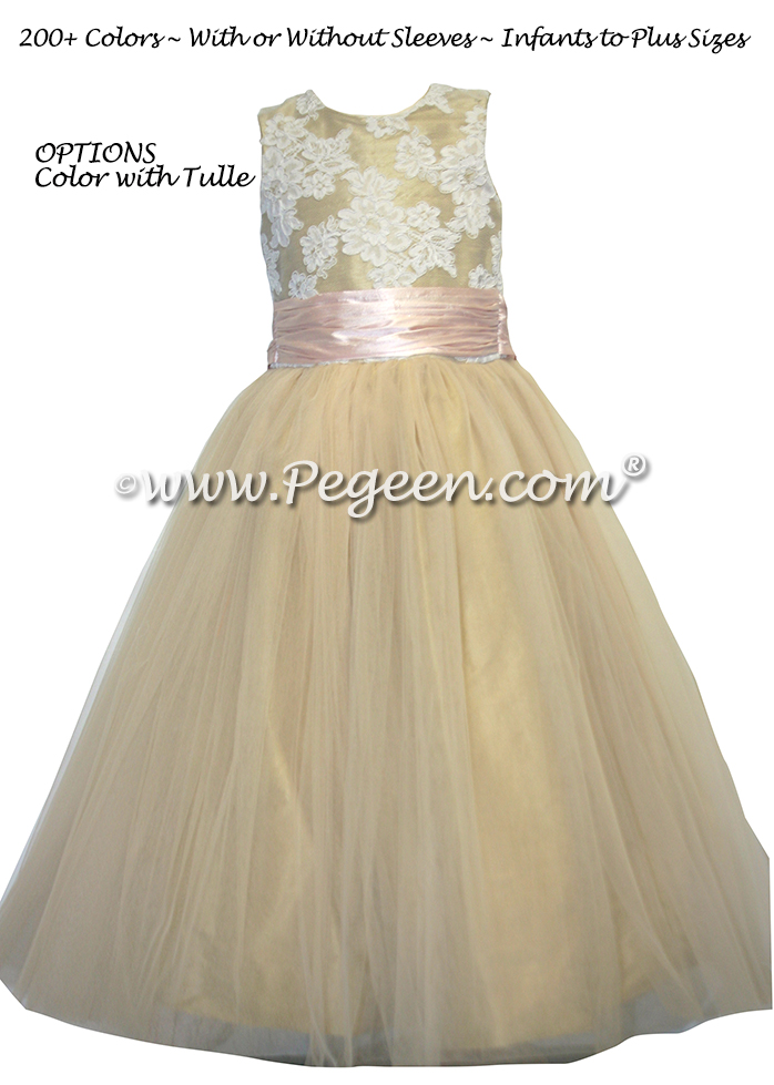 Flower Girl Dress in Gold Tulle and Lace - Style 413 | Pegeen