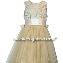 Gold and Pink Tulle Silk flower girl dresses