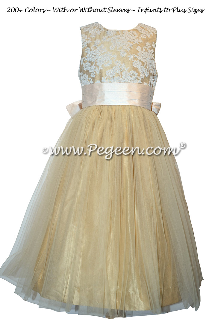 Gold and Pink Tulle Silk flower girl dresses - Style 413