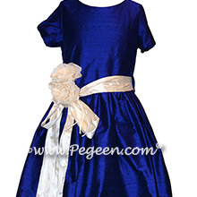 Blue Indigo silk Jr Bridesmaids dresses
