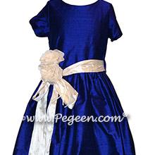 Blue Indigo silk Jr Bridesmaids dresses