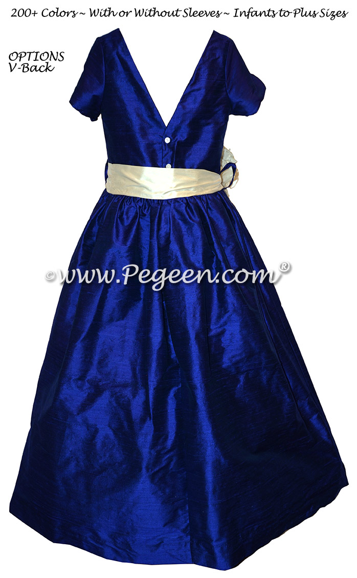 Jr Bridesmaids dresses in Blue Indigo silk - Style 419 | Pegeen
