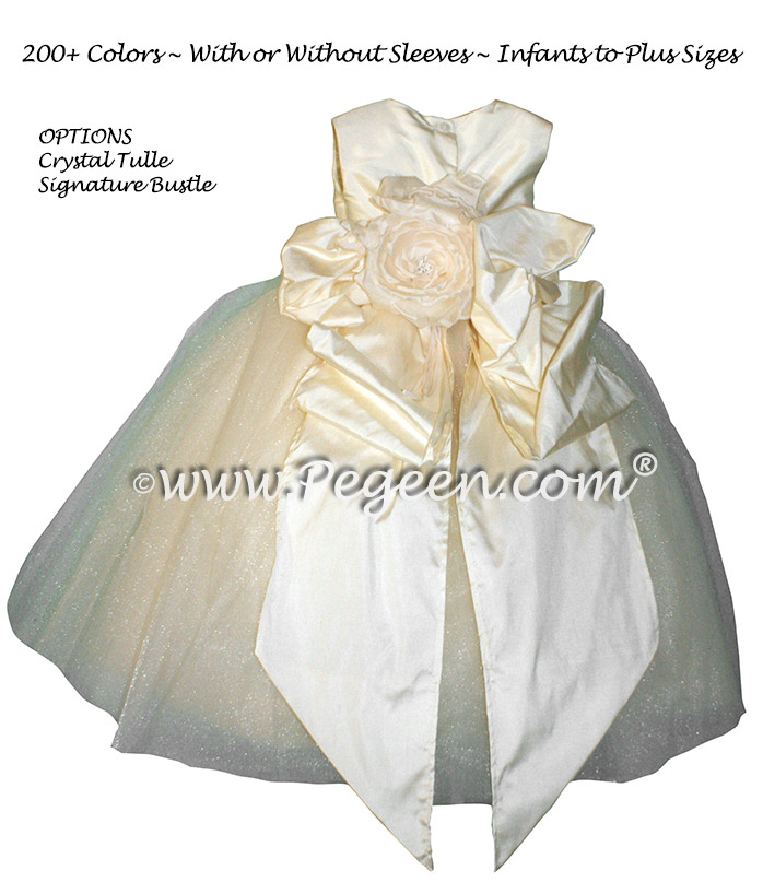 Ivory and Buttercreme Silk flower girl dresses - Couture Style 402