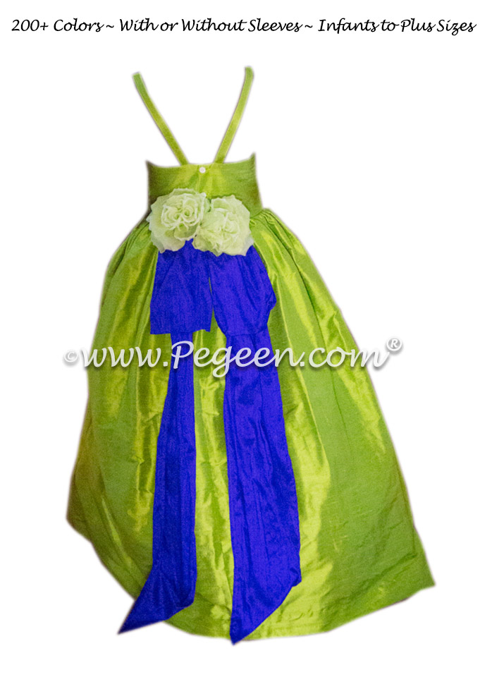Jr Bridesmaids dresses Royal Purple and Apple Green Style 424 | Pegeen