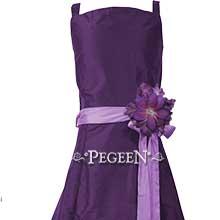 Deep plum and amethyst silk junior bridesmaids dress