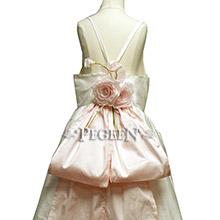 Pink and white silk Jr Bridesmaids dress