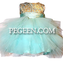 Tiffany and Gold 3-Dimentional Embroidered Silk flower girl dresses