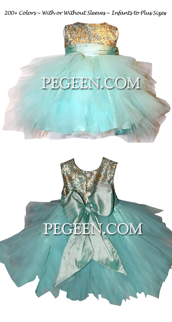 Gold And Tiffany Blue Silk Flower Girl Dress With Handkerchief Tulle