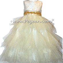 Gold and Ivory Flutter Tulle Toddler Flower Girl Dresses