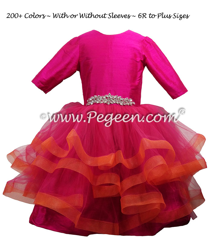 Fluffy Tulle Silk Flower Girl Dress Style 435 in Boing pink and orange