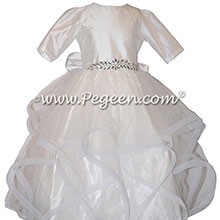 Fluffy Tulle Silk Flower Girl Dress Style 435