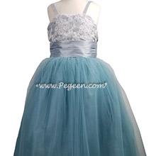Aloncon Lace, Swarovski Crystal Caribbean Blue Jr Bridesmaids Dress