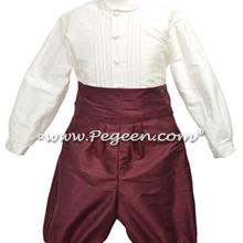 Burgundy silk boys ring bearer suit