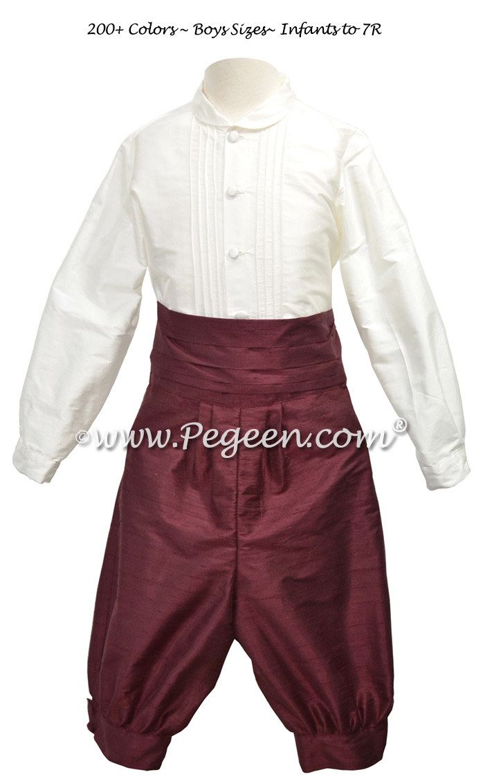 Style 511 Boys Ring Bearer Suit in New Ivory and Burgundy Silk