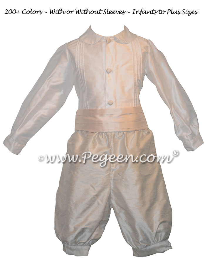 Style 511 Boys Ring Bearer Suit in New Ivory and Champagne Pink