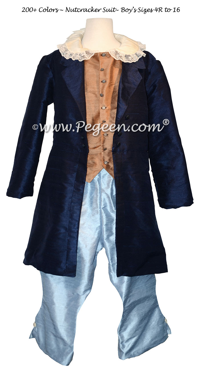 Boy's Ring Bearer or Nutcracker Suit Style 598 with Navy Long Top Coat