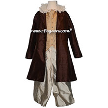 Boy's Ring Bearer or Nutcracker Suit Style 598 with Brown Long Top Coat