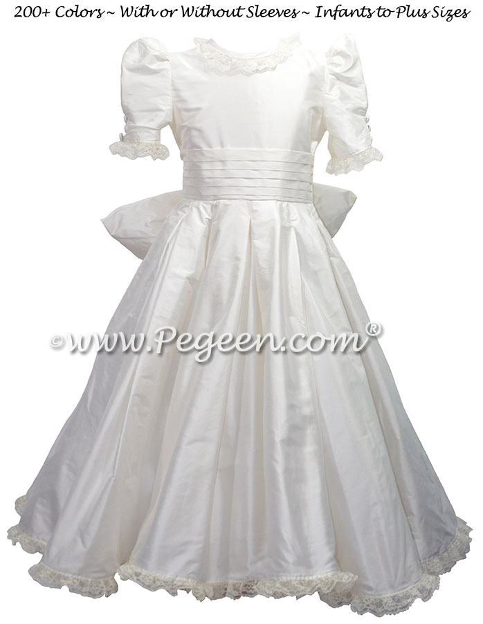New Ivory Silk Flower Girl Dresses styled after Princess Kate's Wedding